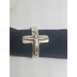 Sterling Silver Creed Crucifix Ring